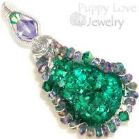 Gemmy Dioptase Crystal Wire Wrapped Sterling Pendant With Mystic Topaz, Handmade