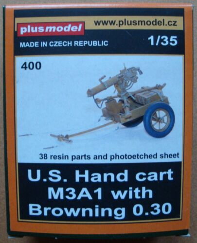 PLUS MODEL #400 WWII US Hand Cart M3A1 w//Browning 0.30 in 1:35