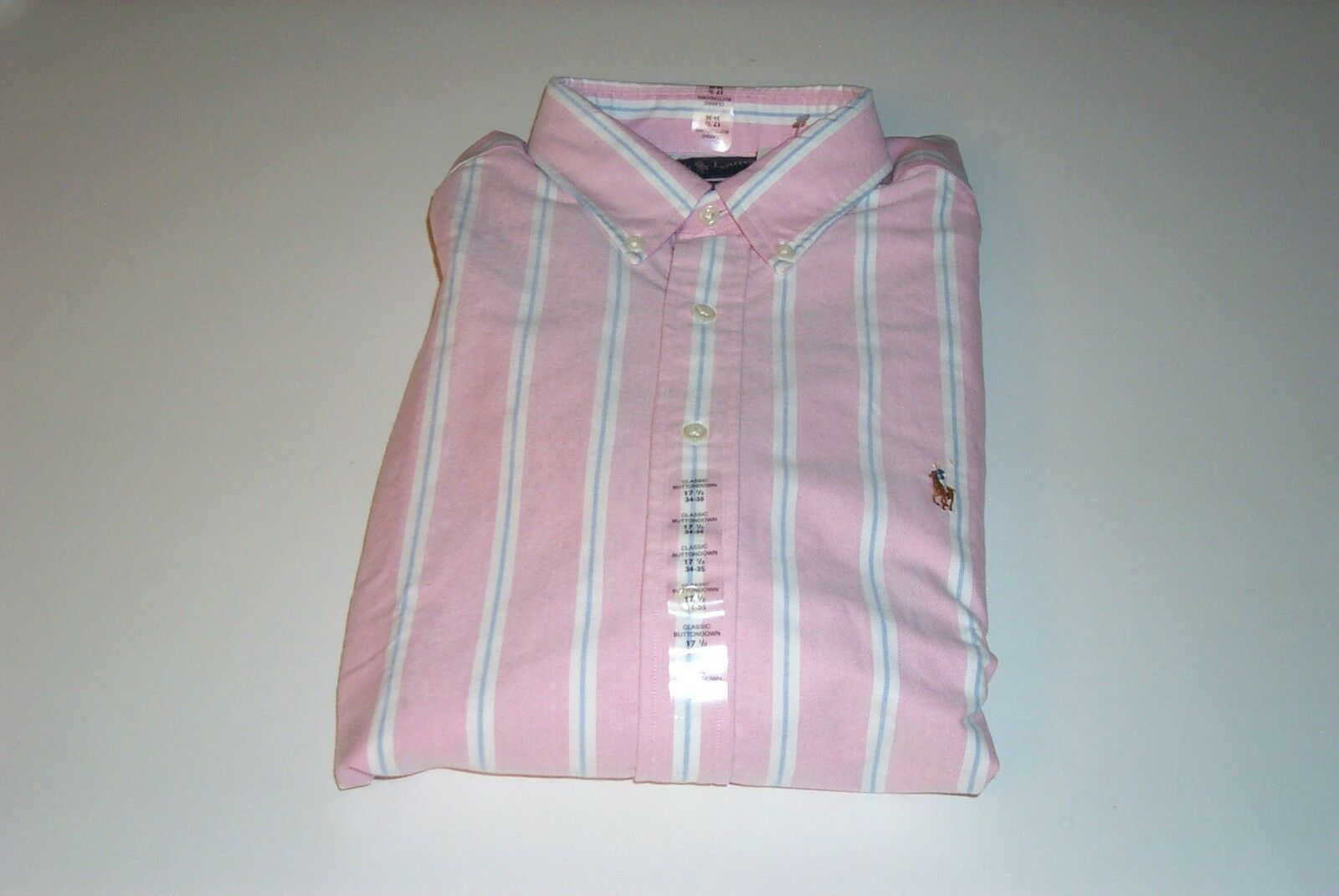 bf9635057e84 NWT POLO RALPH LAUREN MENS LS PINK STRIPED FRONT BUTTON SHIRT 17 1 2 34 35