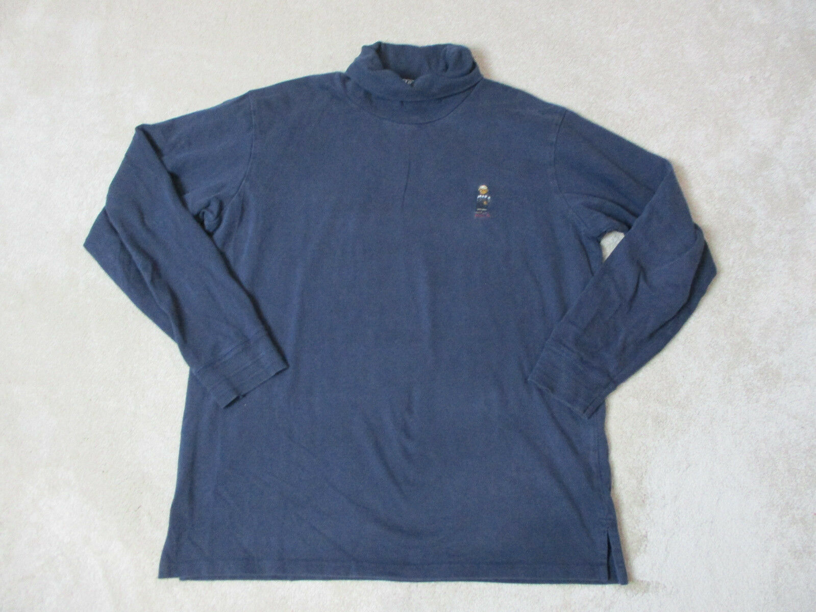 VINTAGE Ralph Lauren Polo Bear Long Sleeve Shirt Adult Extra Large bluee Mens 90s