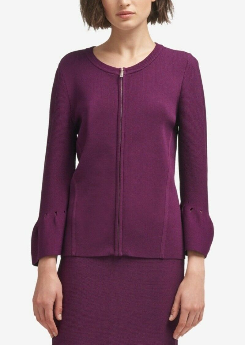 New  DKNY Zip-Front Bell-Sleeve Cardigan Dark Purple Size Large