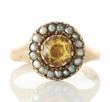 Antique Georgian 9ct Gold Citrine Seed Pearl Ring 051617135