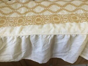 """Linens & Textiles (pre-1930) Rare Missoni/vestor Embroidered Bed Cover Ivory&gold 64""""x78"""" Antiques"""