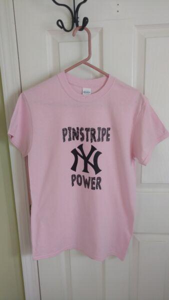New York Yankees Pinstripe Power T Shirts Pink Size S Free