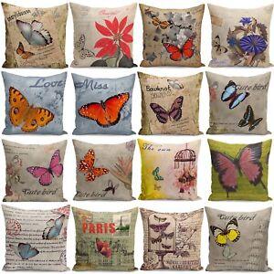 Retro-Design-18-039-039-Cushion-Cover-Butterflies-Floral-Home-Decor-Pillow-Cases-New