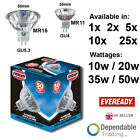 Eveready MR11 / MR16 10w 20w 35w 50w / GU5.3 / GU4 Halogen Spot Reflector 12v