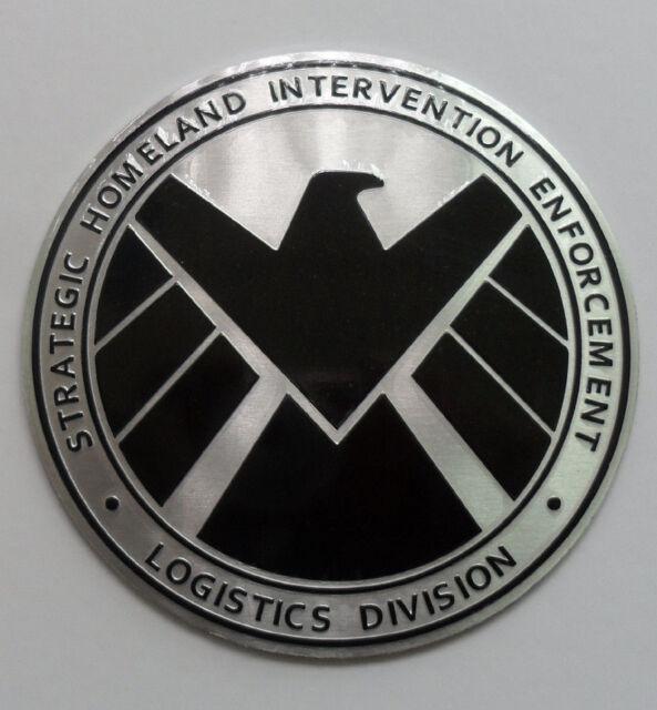 Avengers Marvel Agents Of Shield Badge Chrome Metal Car Sticker