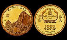 1000 Tugrik 2008. Mongolia. Machu Picchu. Or/Gold 999°-1,00 gr. PROOF