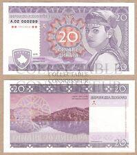 Yugoslavia - Kosovo 20 Dinare 2016 UNC SPECIMEN A.02 Test Note Banknote