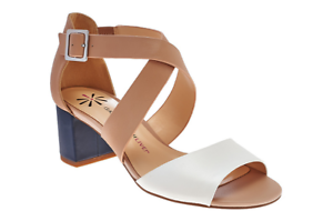 Isaac Block Mizrahi Live! Leather Sandals with Block Isaac Heel PICK SIZE NW c91494