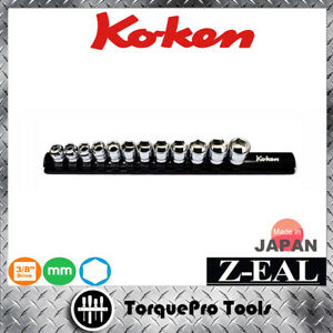 KOKEN-Z-series-RS3400MZ-12-3-8-039-039-High-Grade-Metric-Socket-Set-on-Rail