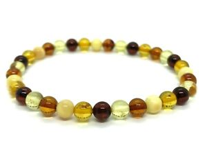 Natural-BALTIC-AMBER-BRACELET-Round-Beads-Multicolor-Colorful-Elastic-3-1g-12709