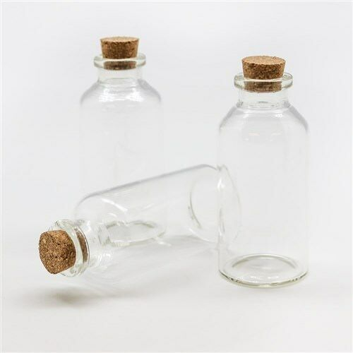 New 30ml Craft Small Clear Glass Bottles Jar w Cork lid Craft Organize Bulk