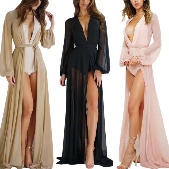 Long Caftan Dress Kimono Cover up Beachwear Womens Swimsuit Gown Bathing Suit