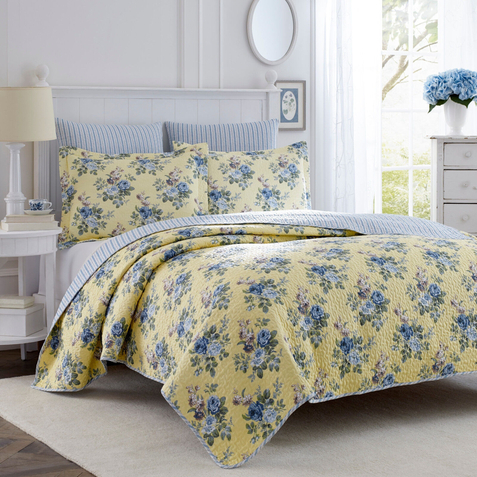 LAURA ASHLEY KING 3-PC COTTON blueE YELLOW FLORAL REVERSIBLE Bedspread QUILT SET