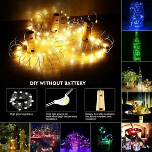 LED Fairy String Lamp Wine Cork Copper Bottle 10//20 LED Party Wire Lights Decor