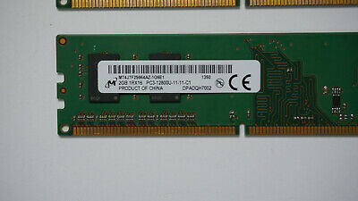 MT8JTF25664AZ-1G6E1 2X2GB Micron 4GB DDR3 1Rx16 PC3 12800U 1666MHz 240-PIN