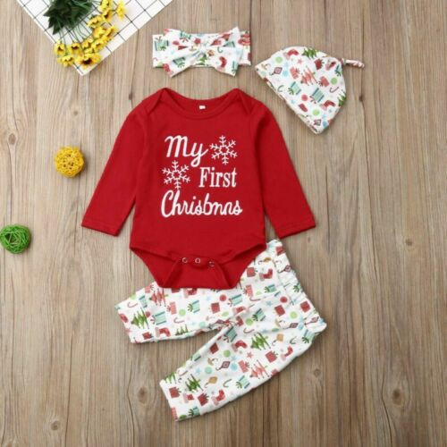 Newborn Sets Baby Girl Boy My First Christmas Costume Romper Hat Clothes Outfits