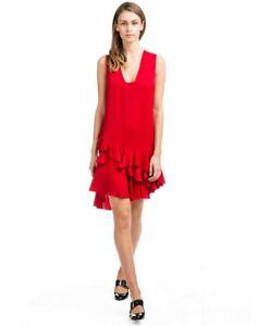 LANVIN-Sleeveless-V-Neck-Ruffle-Hem-Dress-Red-size-12-US-NWT-Made-in-France