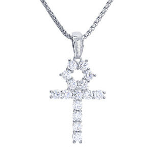Stainless steel chain in silver with a cross and stones