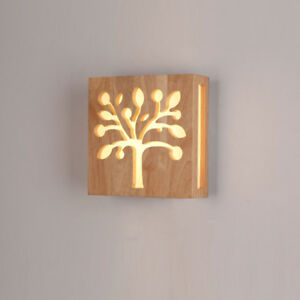 outlet store bbc44 495b0 Details about Modern LED Wall Lamp Bedroom Living Room Square Wood Tree  Wall Sconces Lights