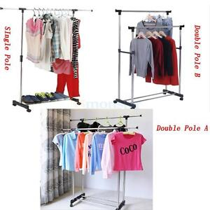 Image Is Loading Single Double Adjustable Portable Clothes Hanger Rolling  Garment