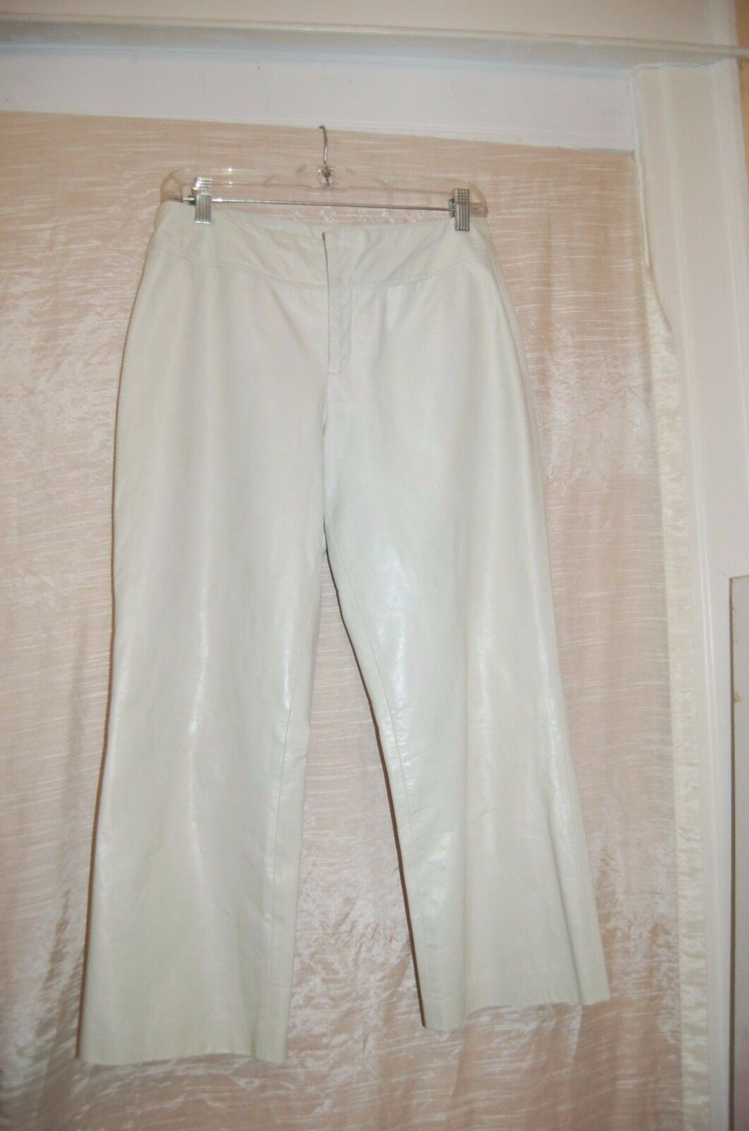 Chaiken Ivory Women Soft Leather Cropped Pants Size 6 Made in USA  Excellent