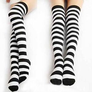 5e9cf08c001 1Pair Fashio Black White Striped Long Socks Women Warm Cotton Over ...