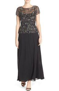 4975fcd23bd Pisarro Nights Chiffon Floral-Beaded Bodice Mock Two-Piece Gown Sz 8 ...