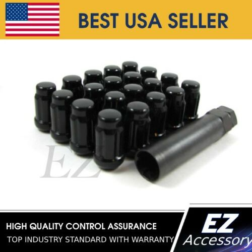 24 Pc Set Spline Tuner Lug Nuts12x1.5BlackLincoln Mercury Pontiac