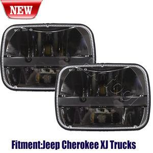 2X-Rectangular-LED-5-034-X-7-034-H4-Ford-GM-Van-Jeep-XJ-YJ-Headlights-High-Low-Beam