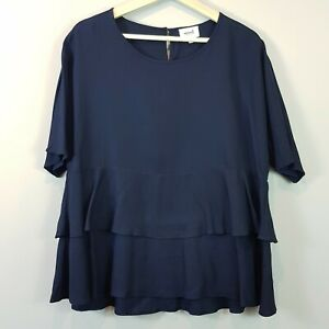 SEED-HERITAGE-Womens-Navy-Blue-Tencel-Frill-Blouse-Top-Size-AU-12-or-US-8