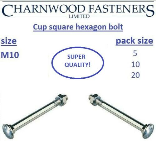 Coach bolts Cup square hexagon CSH including nuts Zinc Plated M10
