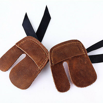 Archery Finger Protector Cow Leather 3 Finger Guard for Recurve Bow Shooting