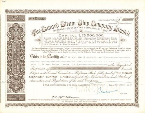 Stock Certificate Cunard Steam-Ship Company Limited