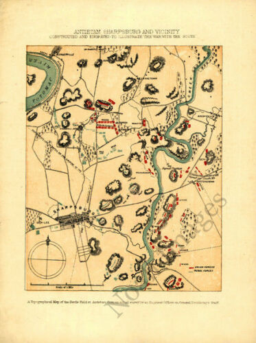Map of Antietam Sharpsburg and vicinity c1864 repro 8x10