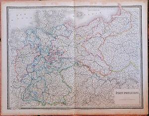 1855- Carte - ETATS PRUSSIENS - 53 x 67 cm.- Andriveau Goujon -Prusse- Allemagne ixlUSmcX-08023239-113047136