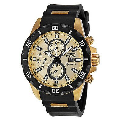 Invicta Signature II Chronograph Gold-tone Dial GMT Stainless Steel Mens Watch