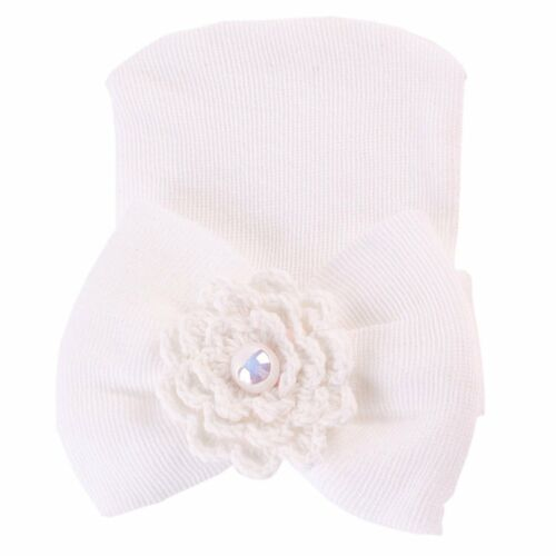 Cute Newborn Baby Infant Girl Toddler Comfy Bowknot Hospital Cap Warm Beanie Hat