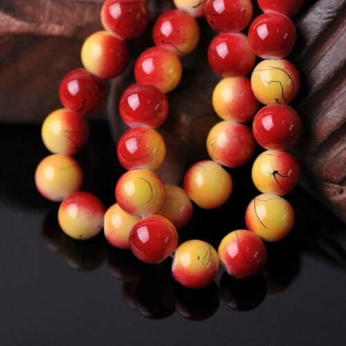 50pcs 10mm Round Red /& Yellow Opaque Glass Loose Beads lot for Jewelry Making
