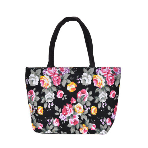 Sac Modeal Main black Cabas red skyblue Provisi navy Lc White Lunch Floral Femmes Canvas À qqwEpr