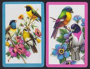 2-Single-VINTAGE-Swap-Playing-Cards-BIRDS-ID-039-BRIGHT-BIRDS-BI-7-5-amp-7-6-039-Blue-Pink