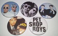 5 Pet Shop Boys button Badges Gay Interest West End Girls Rent Go Domino Dancing