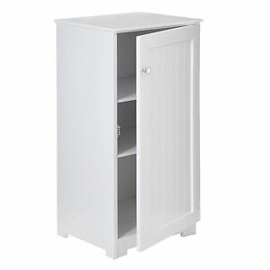 white wood floorstanding cabinet 2 inner shelves bathroom storage