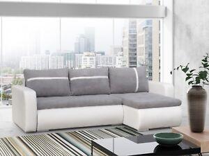 Ecksofa Sofa Eckcouch Couch Wohnlandschaft Couchgarnitur Bett Grau