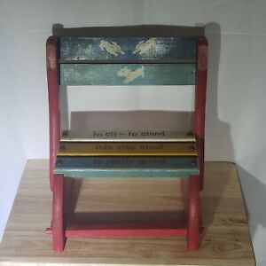 Vintage Kids Wooden Miniature Chair Step Stool Combo With Cute Saying Ebay