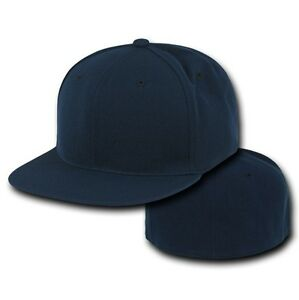 32252a73a45 Navy Blue Fitted Flat Bill Plain Solid Blank Baseball Cap Caps Hat ...