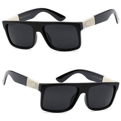 Locs Mens Flat Top Stylish Biker UV Protect Outdoors Sunglasses - Black - LC92