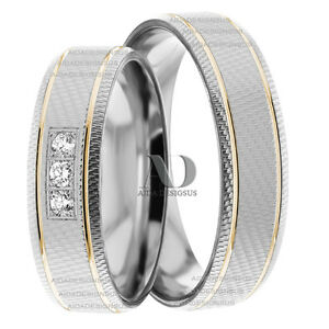 3 Stones Diamond 015Ctw Matching Wedding Ring Set 10K Two Tone