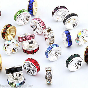 Wholesale-50-100Pcs-Crystal-Rhinestone-Silver-Plated-Rondelle-Spacer-Beads-6mm